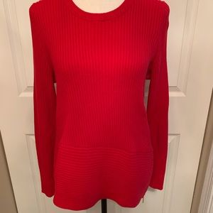Michael Kors Asymmetrical Red Pullover Sweater